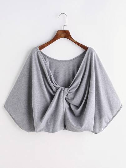 Heather Grey Twisted Drape Back T-shirt