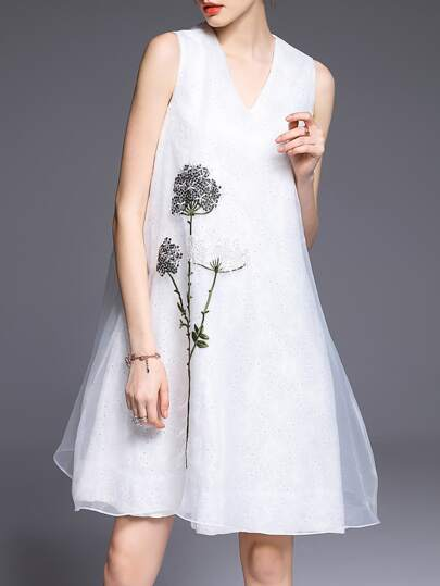 White V Neck Flowers Embroidered Organza Dress