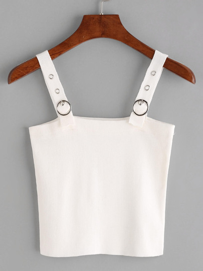 Ring Detail Adjustable Knit Cami Top