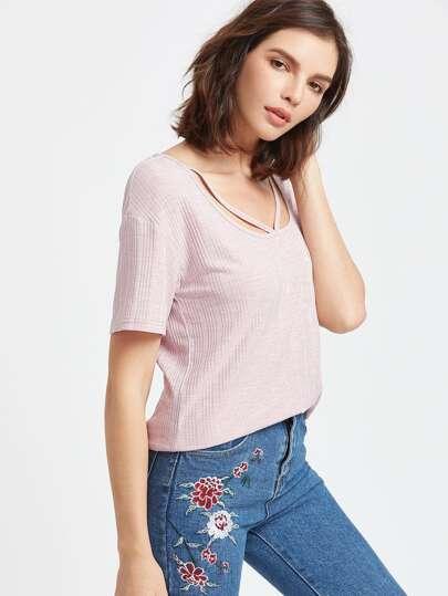 Shirt avec tirant V côtelée col ras du cou - violette