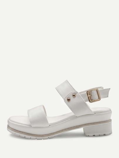 White Sling Back Cute PU Sandals