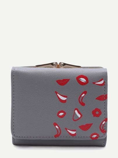 Grey Lip Print Kiss Lock PU Wallet
