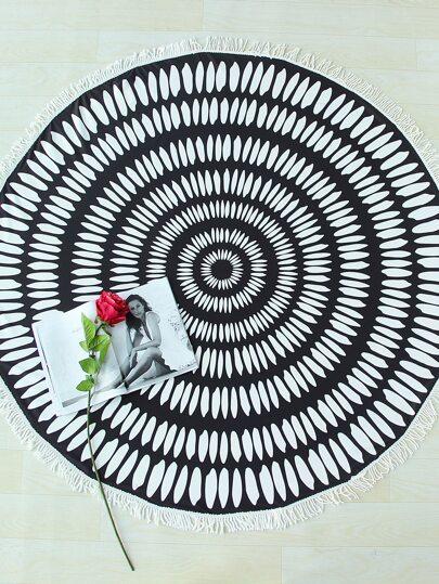 Black And White Fringe Trim Round Beach Blanket