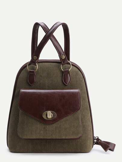 Green Front Pocket Vintage Corduroy Backpack