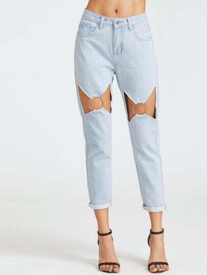 SHEIN                                Blue Bleach Wash Cutout O Ring Detail Boyfriend Jeans
