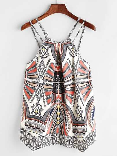 Tribal Print Asymmetric Hem Cami Top