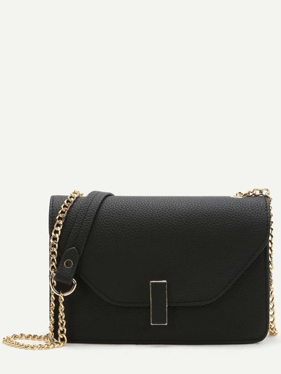 Black Flap PU Shoulder Bag