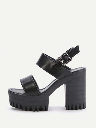 Black Platform Chunky Heeled PU Sandals