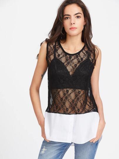 Black Sheer Floral Lace Contrast Hem Tank Top