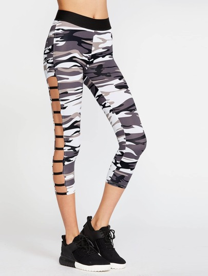 Camo Print Ladder Cutout Crop Leggings