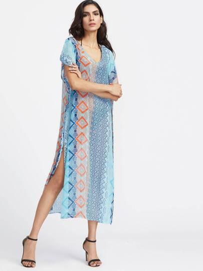 Vestido con estampado geométrico y abertura lateral - azul