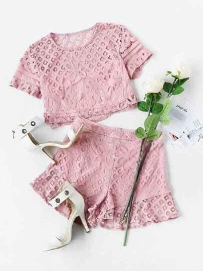 Lace Crop Top And Frill Hem Shorts Set