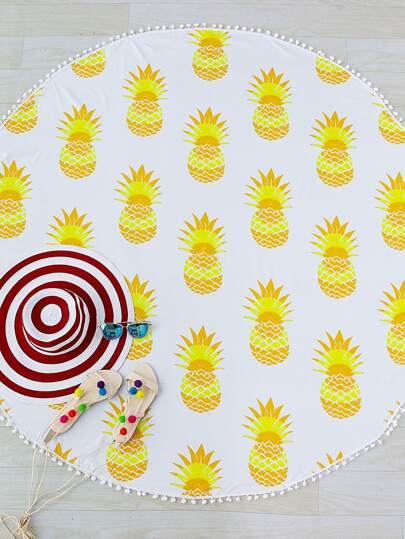 Yellow Pineapple Print Pom Pom Trim Round Beach Blanket
