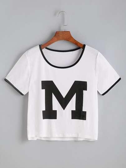 Tee-shirt blanc imprimé des lettres