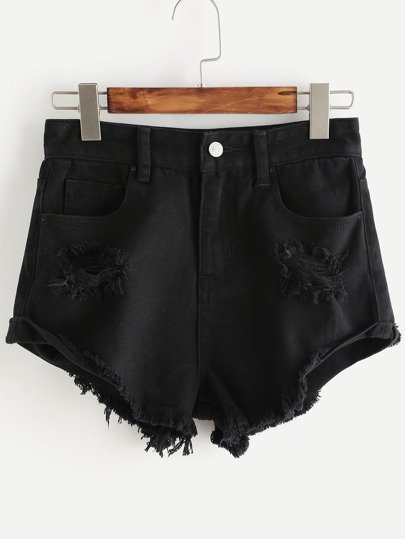 pantaloncini rotto in denim - nero