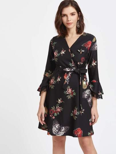 Black Florals V Neck Tiered Bell Sleeve Wrap Dress