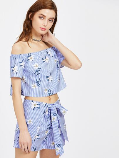Floral Vertical Striped Bardot Top With Tie Waist Shorts