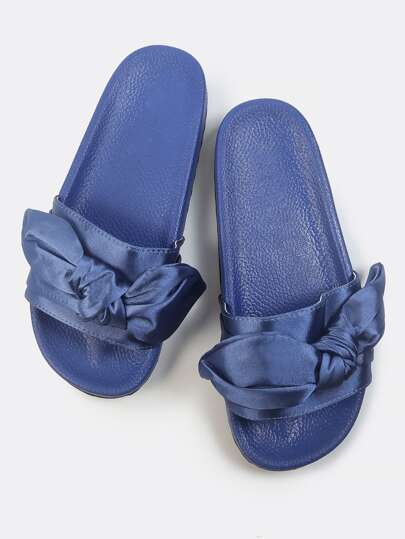 Satin Bow Slip On Sandals BLUE