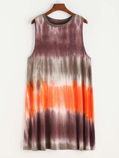 Vestido sin mangas con estampado tie dye - multicolor