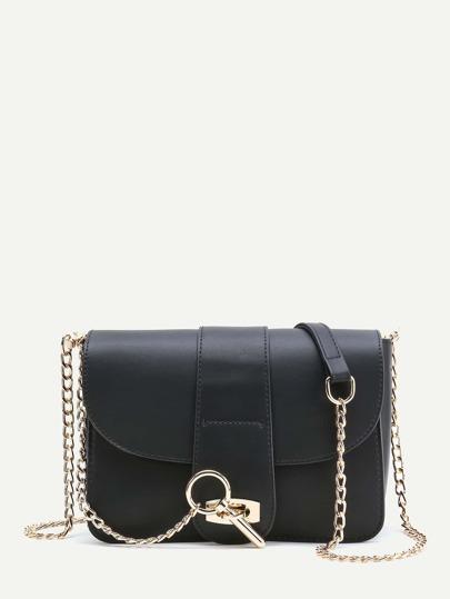 Flap PU Crossbody Bag With Chain