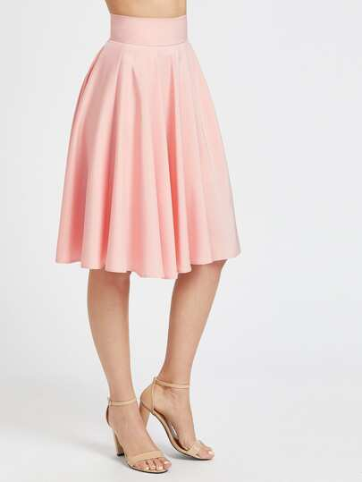 Wide Waistband Zip Back Swing Flare Skirt