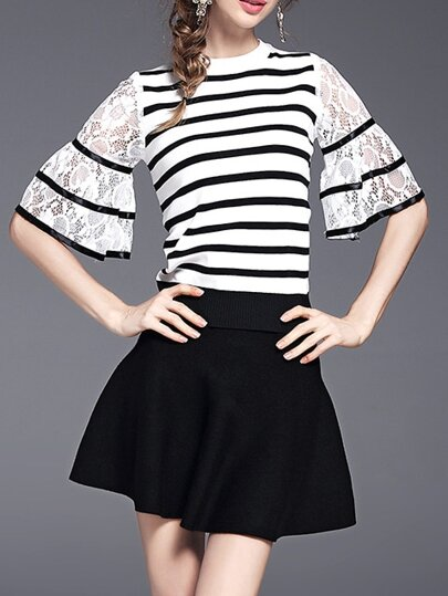 Black Bell Sleeve Striped Contrast Lace Top With Skirt