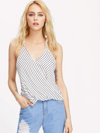 Striped Double Strap Crisscross Draped Cami Top
