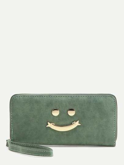 Green Happy Smile Design Cute Wallet
