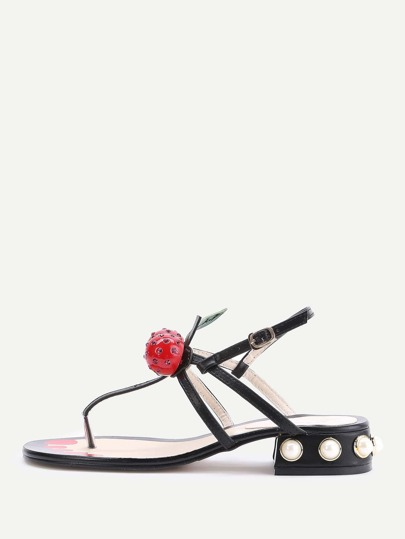 Black Faux Pearl Heeled Thong Sandals With Cherry
