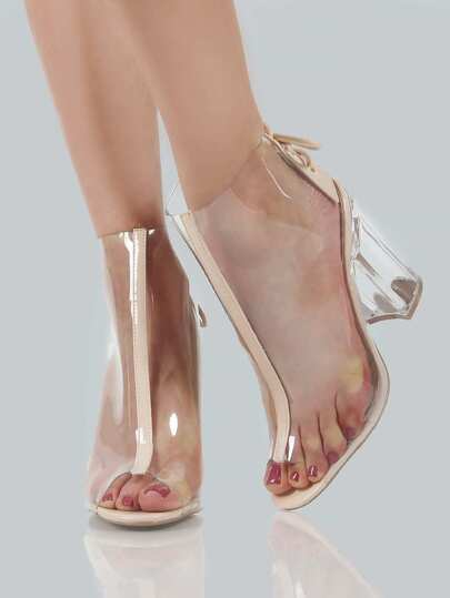 Open Toe Clear Ankle Booties NUDE