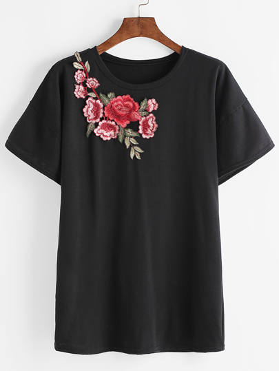 Drop Shoulder Bell Sleeve Applique T-shirt