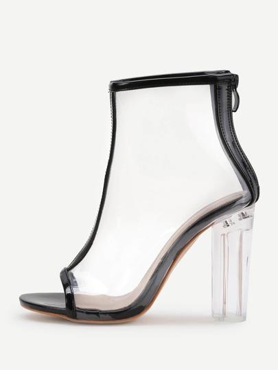 Contrast Trim Peep Toe Clear Chunky Heels