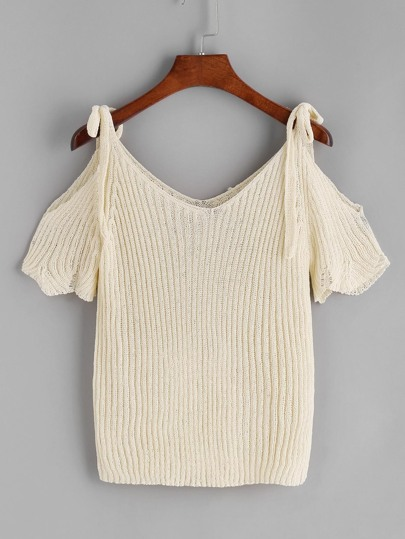Beige Cold Shoulder Scallop Knit T-shirt