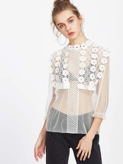 Embroidered Lace Applique Sheer Mesh Top