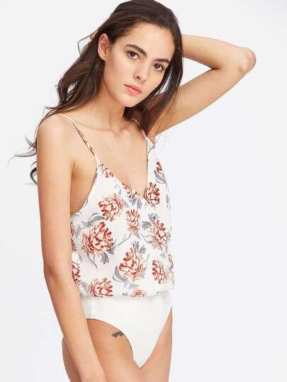 Flower Print Surplice Blouson Bodysuit