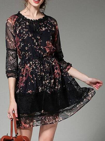 Black Sheer Print Contrast Lace Dress
