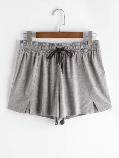 Shorts con aperture nella parte anteriore con cavo - grigio