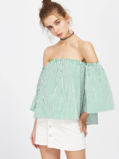 Pinstripes Off The Shoulder Top