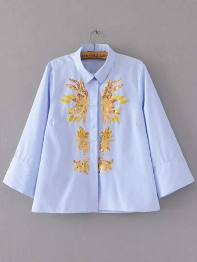 A strisce blu con paillettes ricamati Camicia