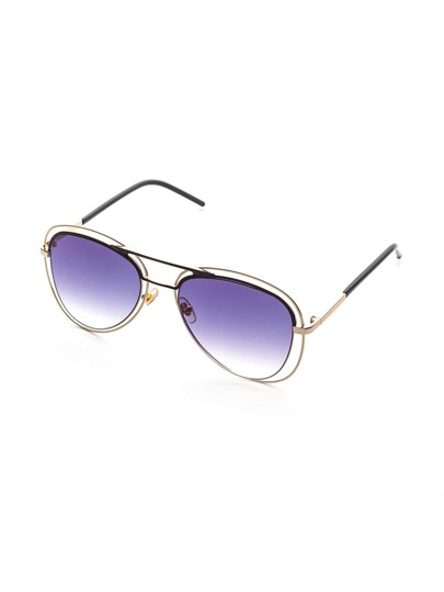 Lunettes de soleil Double Bridge Metal Arm Purple Lens
