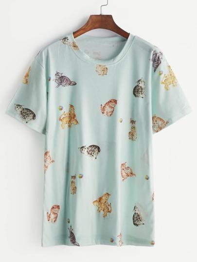Blue Cats Print T-shirt
