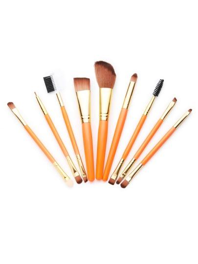9PCS Wood Handle Set de brosse cosmétiques