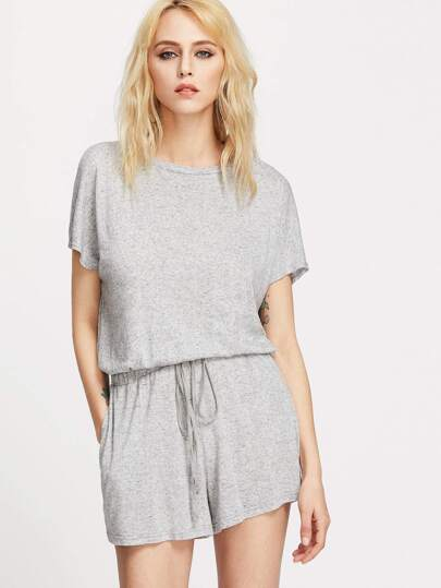 Buttoned Keyhole Back Drawstring Waist Heathered Romper