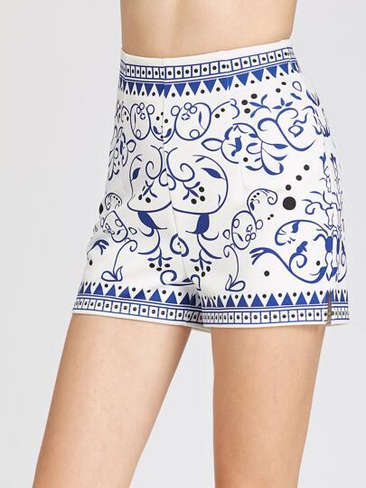 Porcelain Print Zip Back Shorts