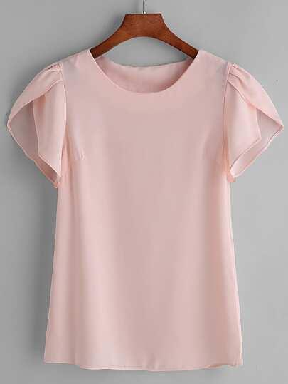 Blusa de chifón plisada de manga japonesa - rosa