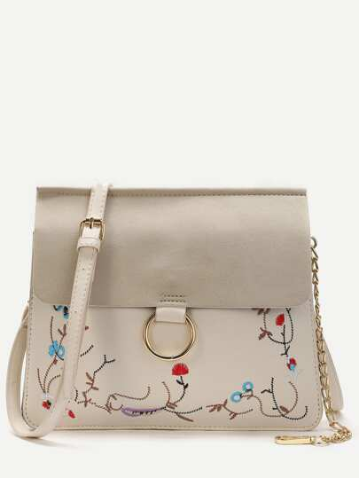White Embroidery Flap Shoulder Bag With Chain Detail