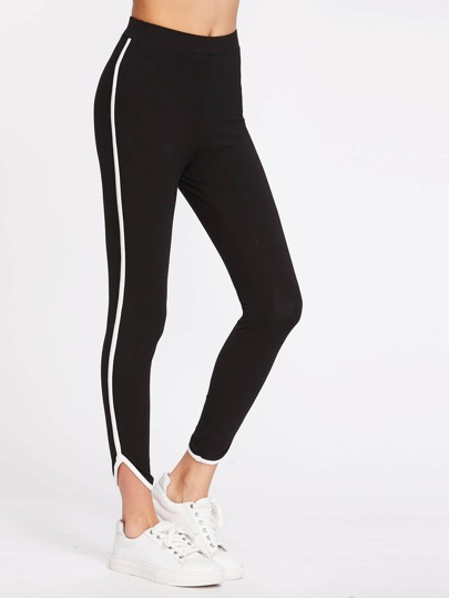 Contrast Binding Curved Hem Leggings