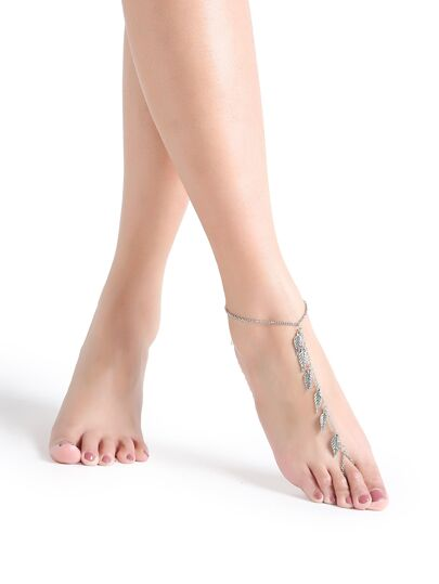 Silver Leaf Charm Foot Anklet