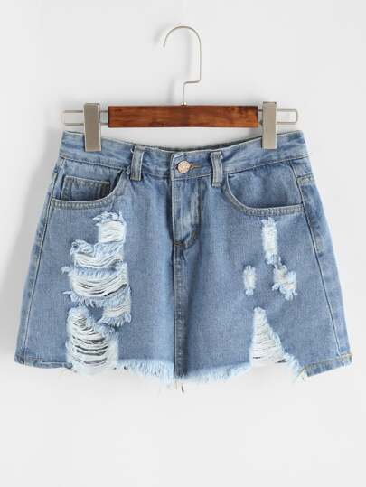 Light Blue Ripped Raw Hem Skirt