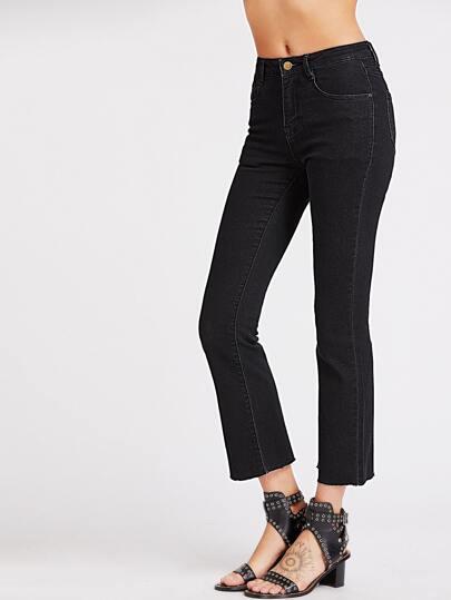 i jeans sfilacciati con breve volo - nero